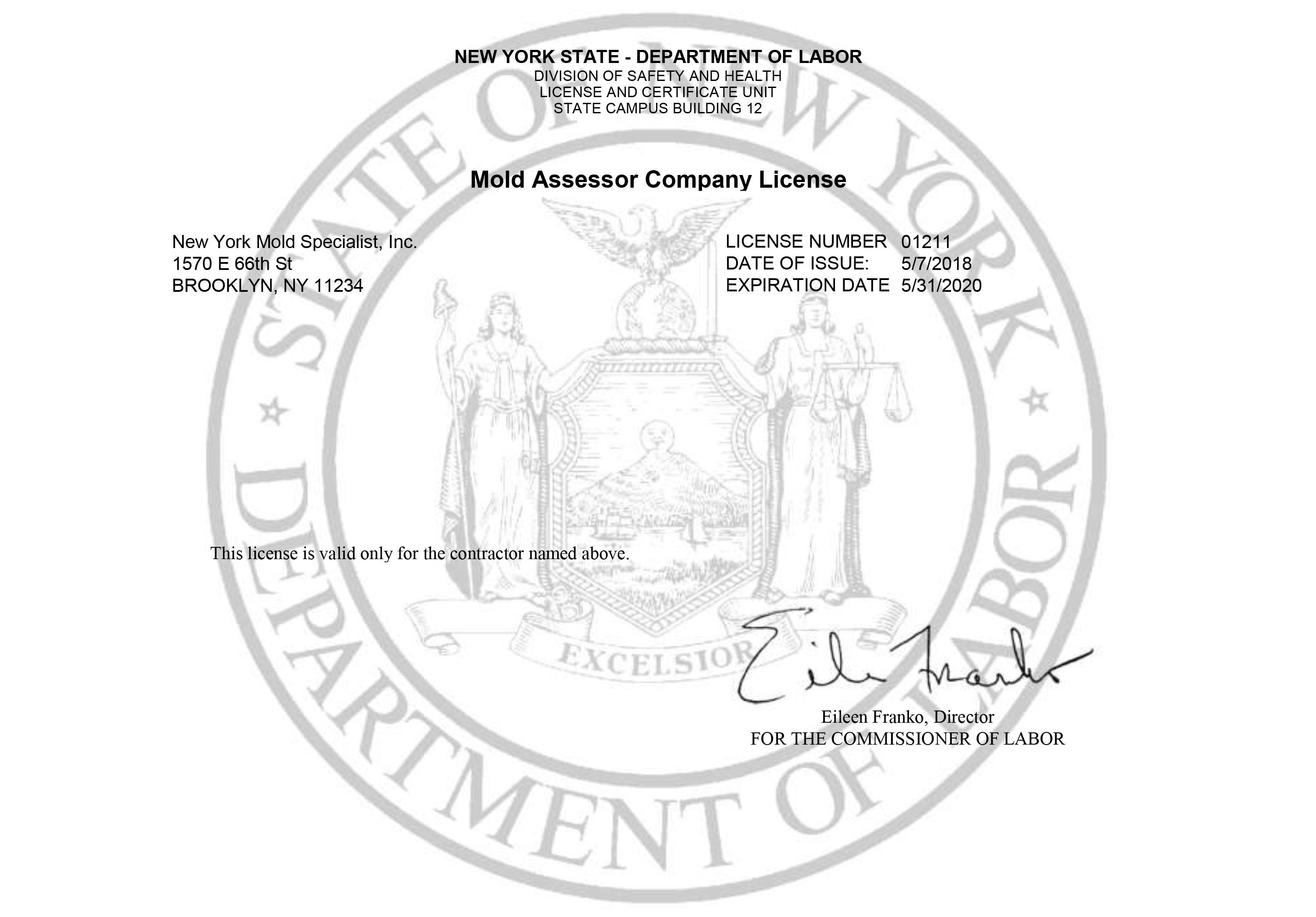 Mold Assessor Company License