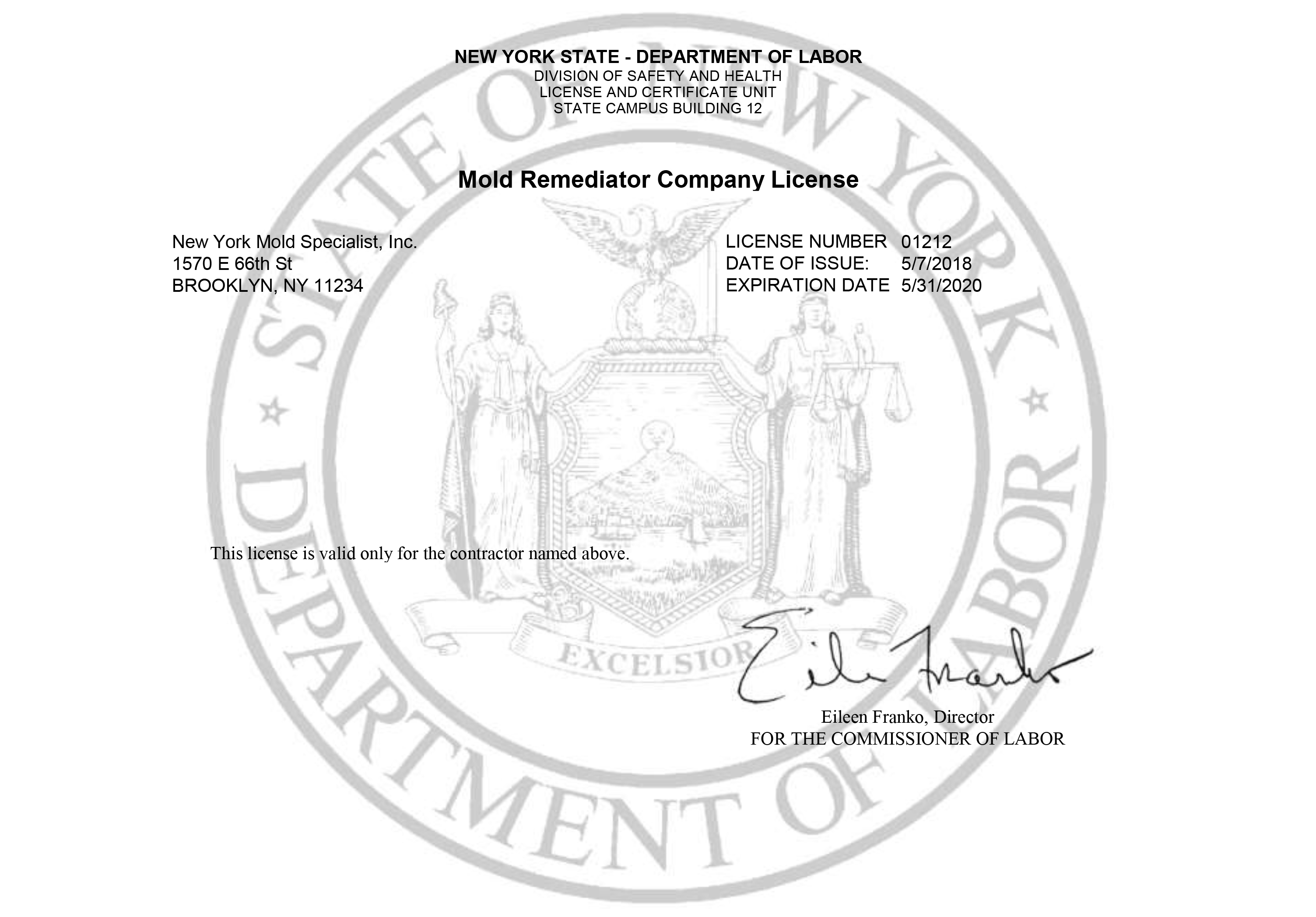 Mold Remediator Company License